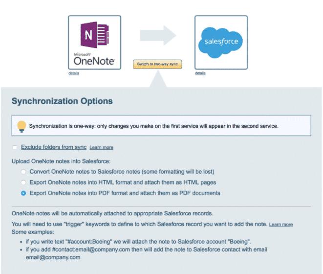 Integre Salesforce con OneNote para registrar todos los detalles